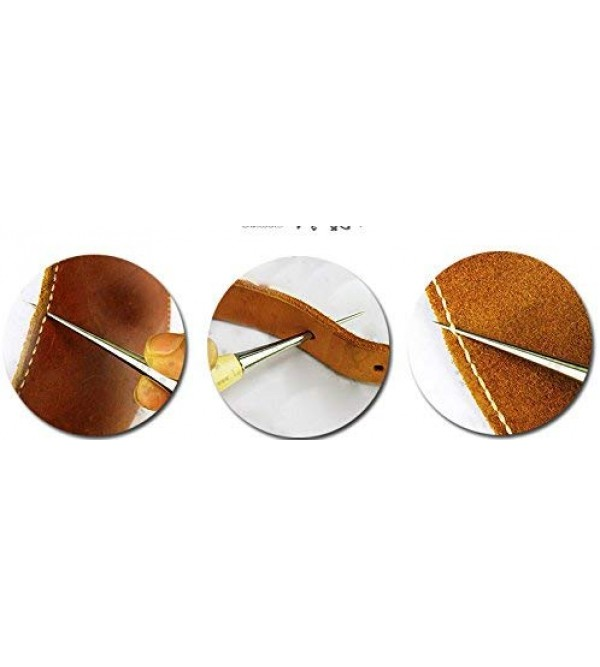 uxcell DIY Gadget Wood Handle Drillable Awl Round Solid Tool for Leather Craft